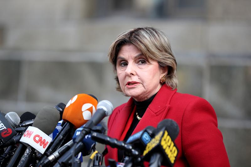NEW YORK, USA - FEBRUARY 24: Attorney Gloria Allred speaks to press members after the hearing of Hollywood mogul Harvey Weinstein in New York, United States on February 24, 2020. Weinstein was convicted of third-degree rape and committing a first-degree criminal sexual act. (Photo by Tayfun Coskun/Anadolu Agency via Getty Images)