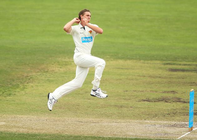 Luke Butterworth of the Chairman's XI bowls during day two of the international tour match between the Chairman's XI and Sri Lanka at Manuka Oval on December 7, 2012 in Canberra, Australia.  (Photo by Brendon Thorne/Getty Images)