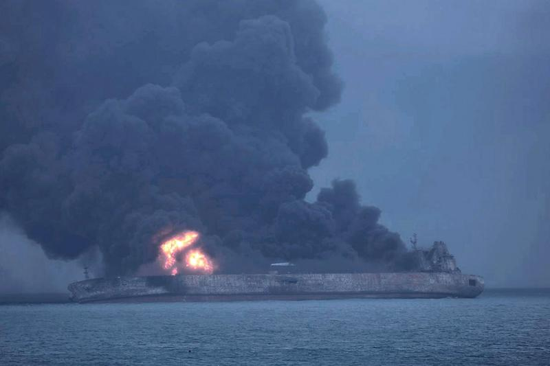 Panama-registered tanker 'Sanchi' on fire after the collision with a Hong Kong-registered freighter: EPA