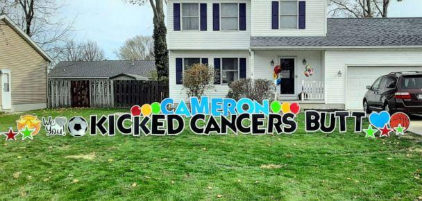 PHOTO: A banner on three-year-old Cameron's lawn welcomes him home. (Mitchell Fallis/Lorain Fire Department)