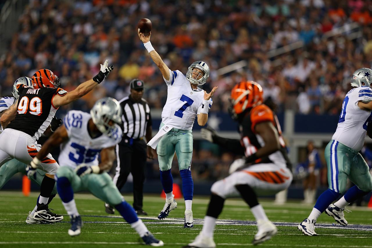 ARLINGTON, TX - AUGUST 24: Alex Tanney #7 of the Dallas Cowboys throws against the Cincinnati Bengals during a preseason game at AT&T Stadium on August 24, 2013 in Arlington, Texas. (Photo by Ronald Martinez/Getty Images)
