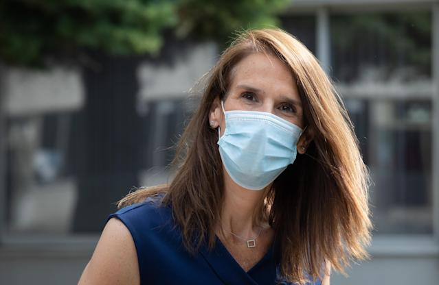 Sophie Wilmes, prime minister of Belgium, wears a mask. (Getty Images)
