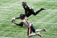 Chicago Bears wide receiver Anthony Miller (17) makes the catch ahead of Atlanta Falcons strong safety Keanu Neal (22) for a touchdown during the second half of an NFL football game, Sunday, Sept. 27, 2020, in Atlanta. (AP Photo/Brynn Anderson)