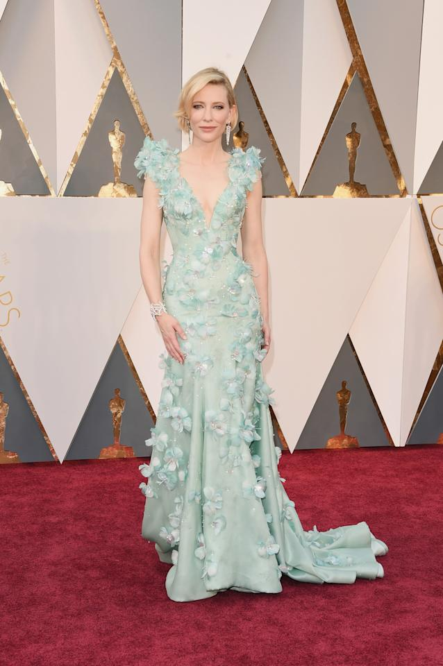<p>The best actress nominee walked the red carpet in this seafoam green gown with floral applique detailing.<i> (Photo by Jason Merritt/Getty Images)</i><br /></p>