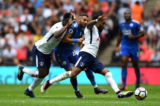 "Soccer Football - Premier League - Tottenham Hotspur vs Leicester City - Wembley Stadium, London, Britain - May 13, 2018 Leicester City's Riyad Mahrez in action with Tottenham's Victor Wanyama and Danny Rose REUTERS/Dylan Martinez EDITORIAL USE ONLY. No use with unauthorized audio, video, data, fixture lists, club/league logos or ""live"" services. Online in-match use limited to 75 images, no video emulation. No use in betting, games or single club/league/player publications. Please contact your account representative for further details. TPX IMAGES OF THE DAY"