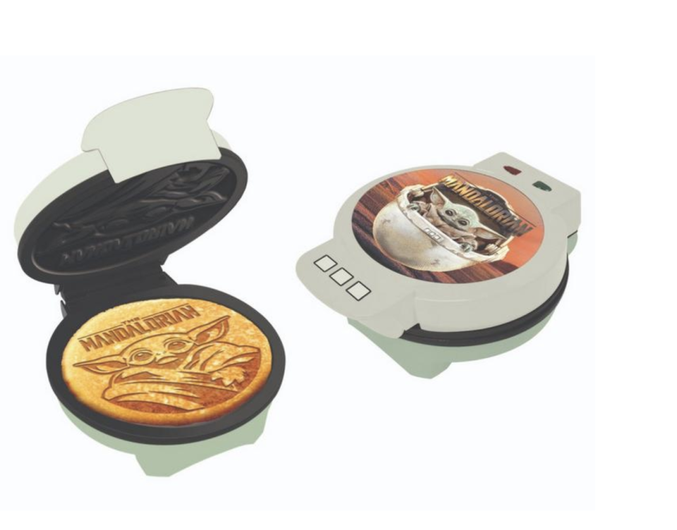 """<p>At this point you can totally deck out your kitchen in Star Wars dishware and appliances, so it was only a matter of time before we could have some Baby Yoda goodies, too! This waffle iron will have the little guy pressed into your breakfast. Amazing, truly.</p><p><a class=""""link rapid-noclick-resp"""" href=""""https://go.redirectingat.com?id=74968X1596630&url=https%3A%2F%2Fwww.gamestop.com%2Ftoys-collectibles%2Flifestyle%2Fkitchen%2Fappliances%2Fproducts%2Fstar-wars-the-mandalorian-the-child-waffle-maker-only-at-gamestop%2F11100553.html&sref=https%3A%2F%2Fwww.delish.com%2Fkitchen-tools%2Fcookware-reviews%2Fg29568867%2Fstar-wars-gifts%2F"""" rel=""""nofollow noopener"""" target=""""_blank"""" data-ylk=""""slk:BUY NOW"""">BUY NOW</a> <strong><em>Mandalorian Waffle Maker, $39.99, gamestop.com</em></strong></p>"""