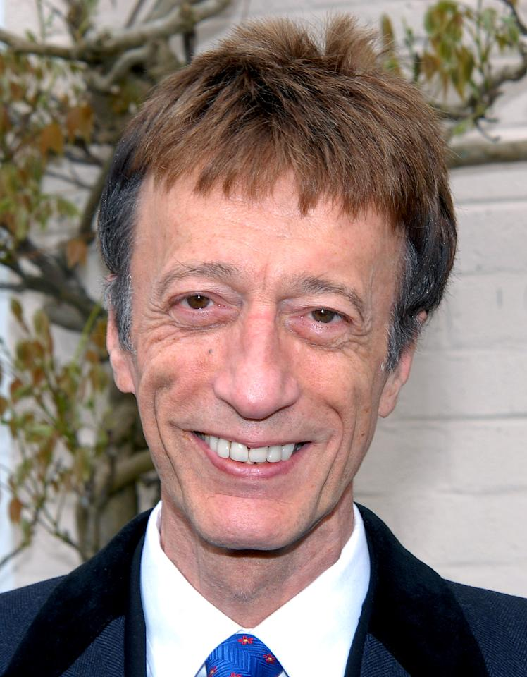LONDON, UNITED KINGDOM - MAY 09:  (FILE PHOTO) Robin Gibb, 61, was reportedly in the hospital earlier this week from and is battling Liver Cancer. Gibb is reportedly back at home. Please refer to the following profile on Getty Images Archival for further imagery of Robin Gibb http://www.gettyimages.co.uk/Search/Search.aspx?EventId=130585460&EditorialProduct=Archival  Robin Gibb attends a plaque unveiling for Sir john Mills at Pinewood Studios on May 9, 2010 in London, England. (Photo by Stuart Wilson/Getty Images)