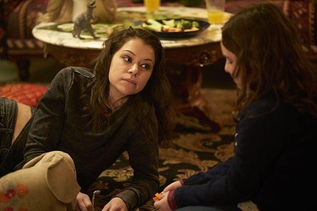 Maslany as Sarah Manning and Skyler Wexler as Kira in 'Orphan Black.' (Photo Credit: Ken Woroner/BBC America)