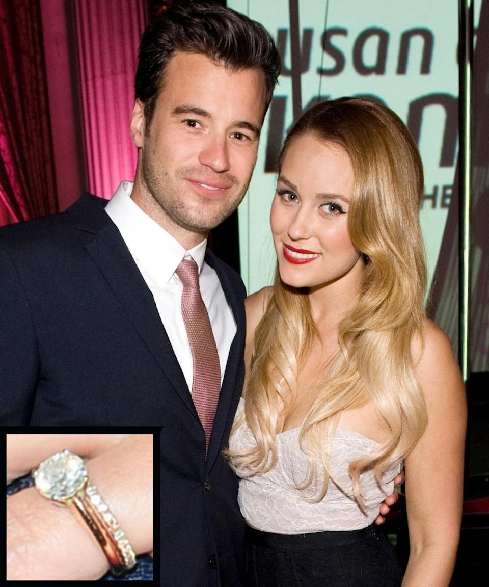 """<p>William Tell proposed to longtime girlfriend Lauren Conrad in 2013 with a beautiful <a rel=""""nofollow noopener"""" href=""""http://www.instyle.com/news/big-photo-big-rock-get-close-look-lauren-conrads-engagement-ring"""" target=""""_blank"""" data-ylk=""""slk:round-cut diamond"""" class=""""link rapid-noclick-resp"""">round-cut diamond</a> on a simple platinum band. The couple <a rel=""""nofollow noopener"""" href=""""http://www.instyle.com/news/finally-see-lauren-conrads-romantic-wedding-dress"""" target=""""_blank"""" data-ylk=""""slk:wed"""" class=""""link rapid-noclick-resp"""">wed</a> in a beautiful ceremony on September 13, 2014.</p>"""