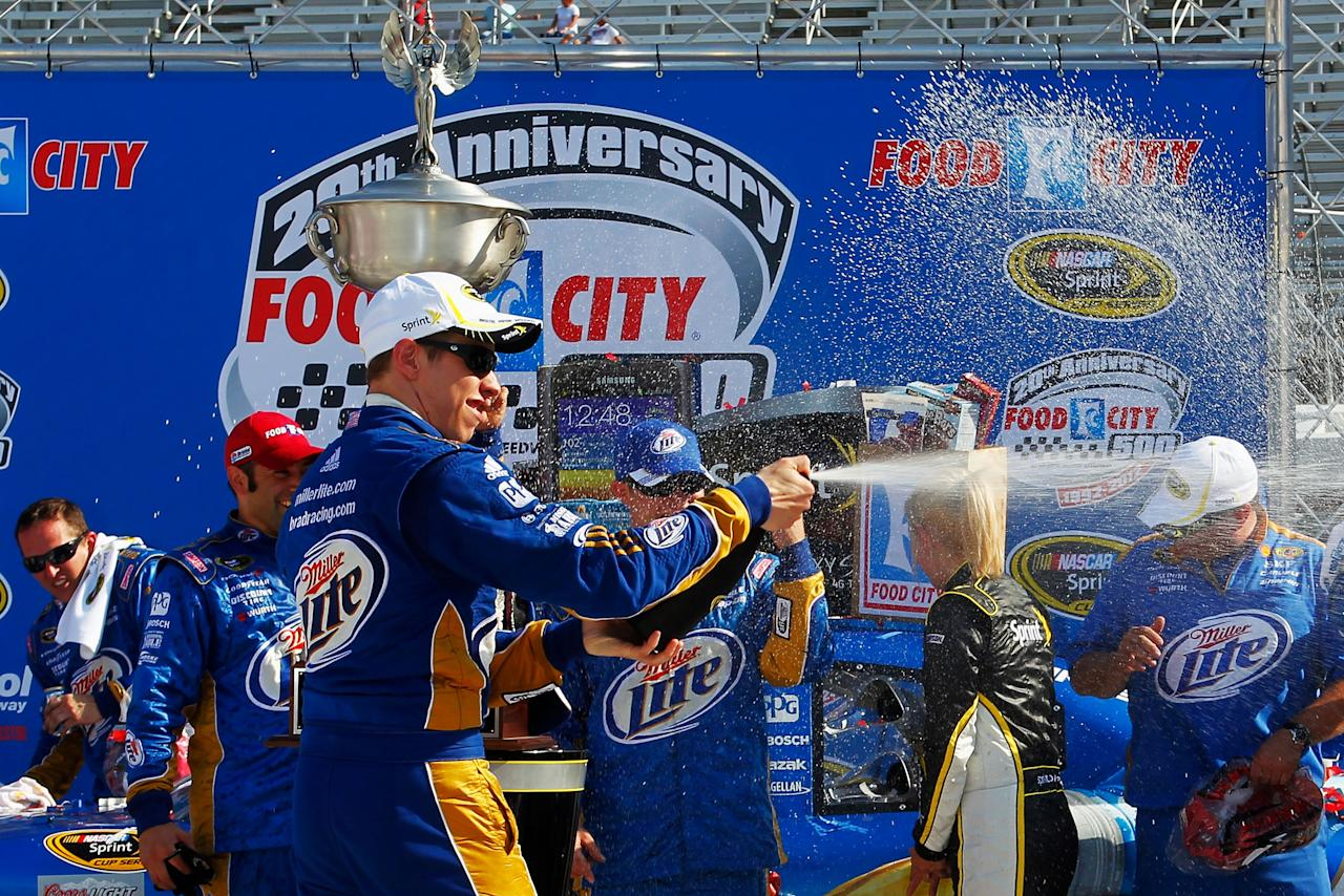 BRISTOL, TN - MARCH 18:  Brad Keselowski, driver of the #2 Miller Lite Dodge, celebrates in Victory Lane after winning the NASCAR Sprint Cup Series Food City 500 at Bristol Motor Speedway on March 18, 2012 in Bristol, Tennessee.  (Photo by Geoff Burke/Getty Images for NASCAR)