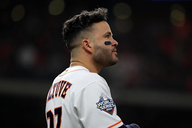 Jose Altuve and the Astros were upset twice at home to start the World Series. (Photo by Elsa/Getty Images)