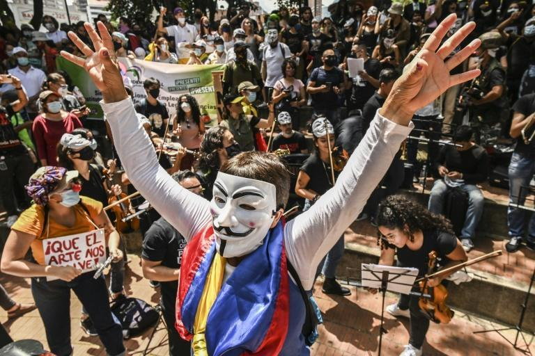 Artists perform during a protest against the government of President Ivan Duque in Medellin, Colombia, on May 26, 2021