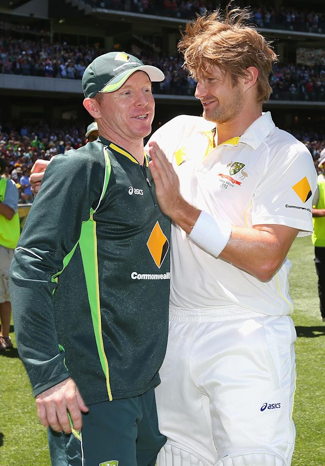 MELBOURNE, AUSTRALIA - DECEMBER 29:  Chris Rogers and Shane Watson of Australia celebrate winning during day four of the Fourth Ashes Test Match between Australia and England at Melbourne Cricket Ground on December 29, 2013 in Melbourne, Australia.  (Photo by Quinn Rooney/Getty Images)