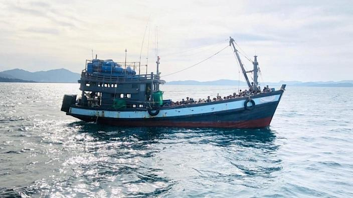 This boat carrying Rohingya refugees was detained in Malaysian waters earlier this month