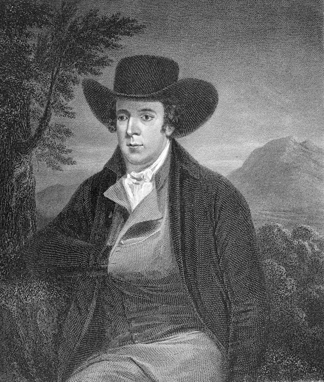 1786: Scottish poet Robert Burns (1759 - 1796). Original Artwork: Painted by P Taylor and engraved by J Horsburgh. (Photo by Hulton Archive/Getty Images)