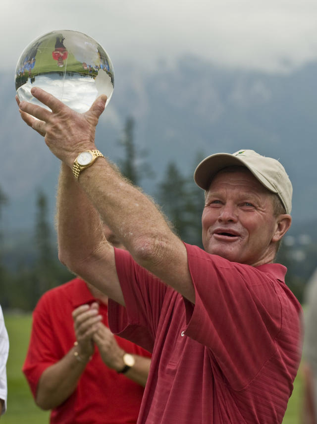 Tom Kite holds the trophy after winning the Boeing Classic golf tournament in Snoqualmie, Wash. on Sunday, Aug. 24, 2008. (AP Photo/John Froschauer)