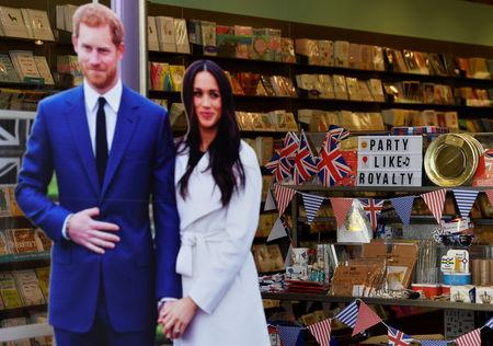 A window display advertising items themed on the forthcoming royal wedding between Prince Harry and Meghan Markle is seen in Windsor, Britain