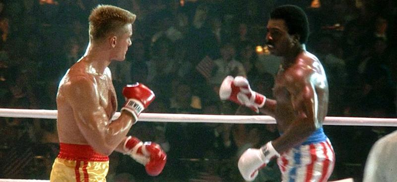 Dolph Lundgren and Carl Weathers in Rocky IV (Credit: United Artists/MGM)
