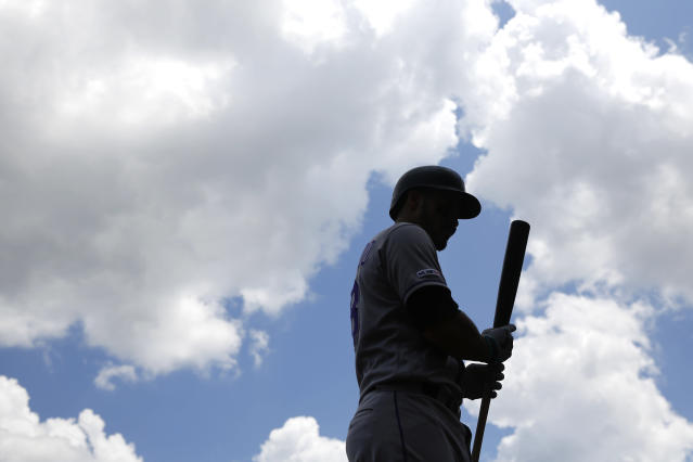 Colorado Rockies' Nolan Arenado prepares for an at-bat in the first inning of the first baseball game of a doubleheader against the Washington Nationals, Wednesday, July 24, 2019, in Washington. (AP Photo/Patrick Semansky)