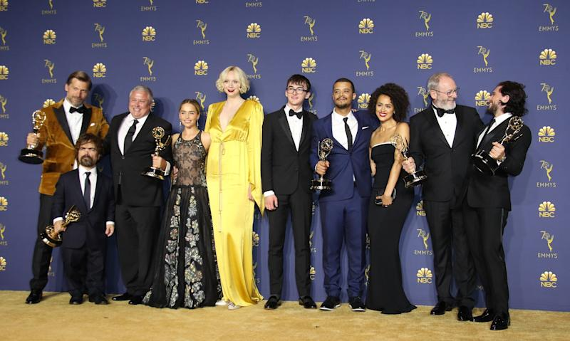 LOS ANGELES, CA - SEPTEMBER 17: Cast and crew of Game of Thrones pose with their Outstanding Drama Series awards in the press room on September 17, 2018 in Los Angeles, California. (Photo by Dan MacMedan/Getty Images)