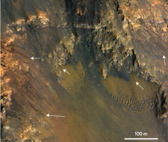A portion of the Coprates Chasma showing dark streaks on generally north-facing slopes in northern summer and southern winter. Coprates Chasma is a huge canyon that forms part of the Valles Marineris system