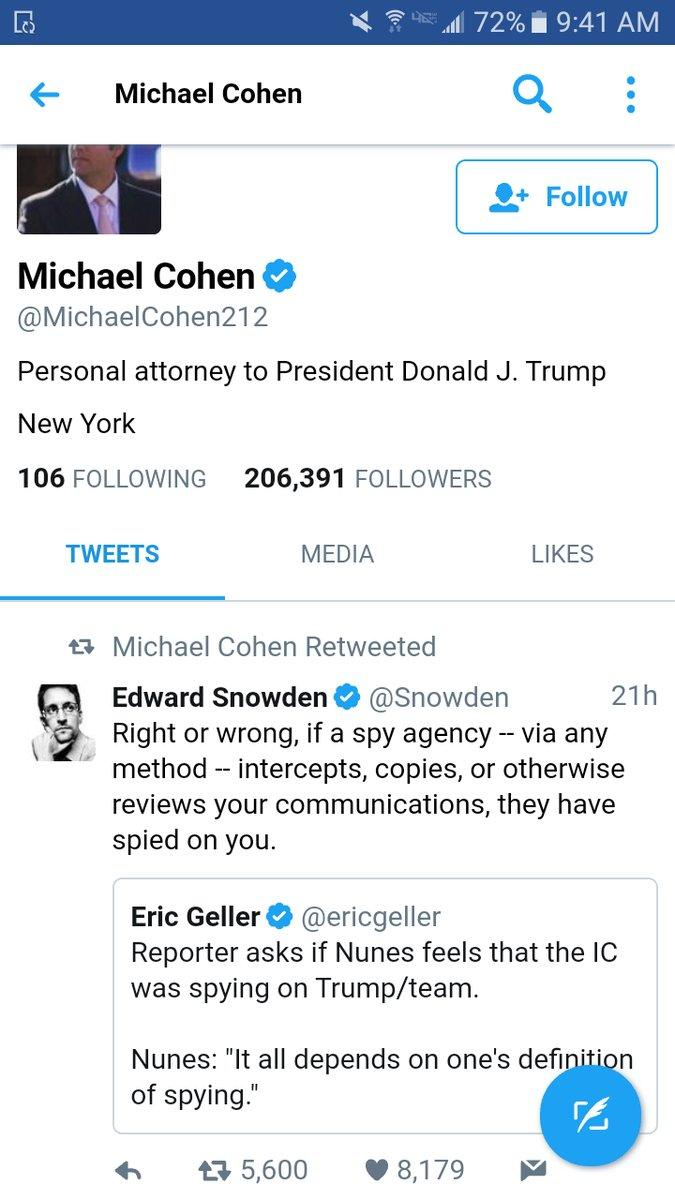 Trump's personal lawyer retweets Snowden.