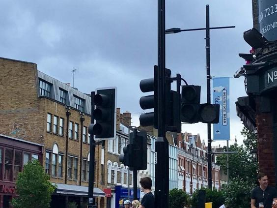 Traffic lights on Northcote Road, near Clapham Junction, in London, shut down by a large scale power cut 9 August 2019. (PA/@harrietrose_93)