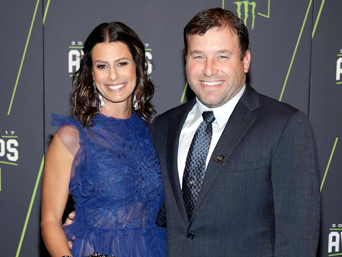 Ryan Newman, right, and Krissie Newman arrive at the NASCAR Cup Series auto racing awards Thursday, November 30, 2017