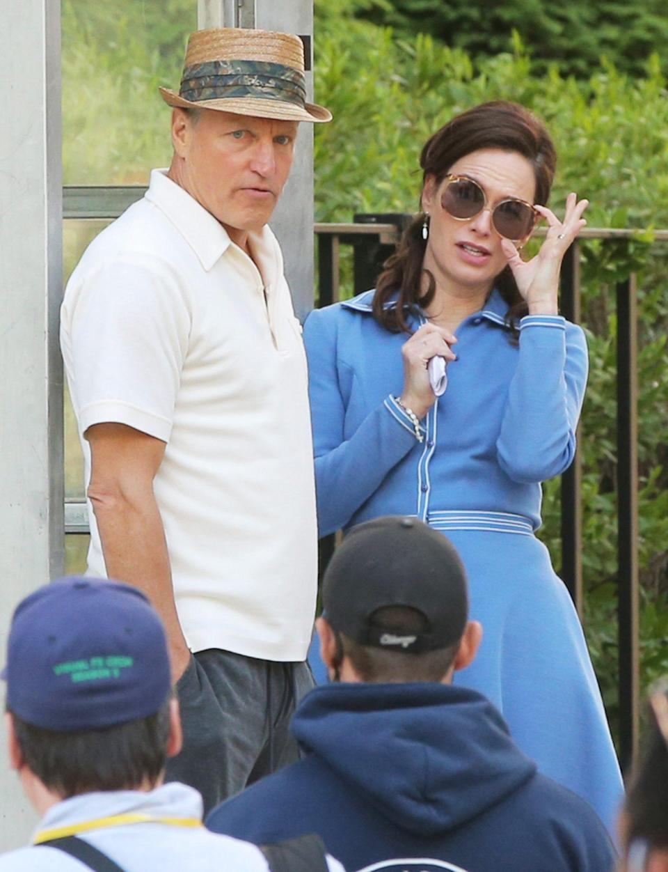 <p>Woody Harrelson and Lena Headey are seen on the set of <em>The White House Plumbers</em> in Albany, New York on June 16. </p>