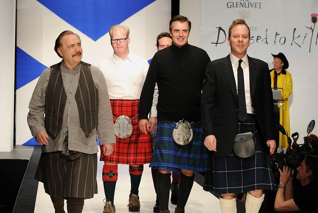 "Giving back this week were a bunch of manly men in skirts -- actors Brian Cox, Jim Gaffigan, Chris Noth, Jason Patric, and Kiefer Sutherland donned traditional Scottish attire to walk the runway at the 9th annual Dressed to Kilt charity fashion show in New York City Tuesday. The gala benefited the Wounded Warriors Projects and the Paralyzed Veterans Association of America. When the lads reached the end of the catwalk they gave the audience a very cheeky ""traditional"" salute! Dimitrios Kambouris/ WireImage.com - April 5, 2011"