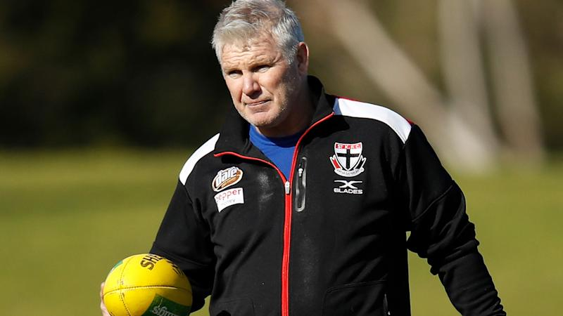 Danny Frawley, pictured here at a St Kilda training session in 2018.