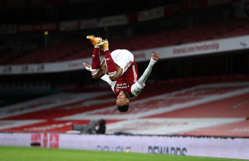 Aubameyang somersaults after opening the scoreGetty Images