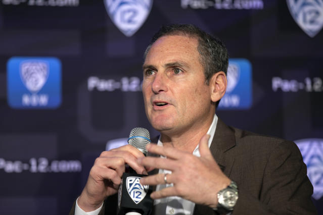 Pac-12 Commissioner Larry Scott speaks to reporters during the Pac-12 Conference women's NCAA college basketball media day, Monday, Oct. 7, 2019, in San Francisco. (AP Photo/D. Ross Cameron)