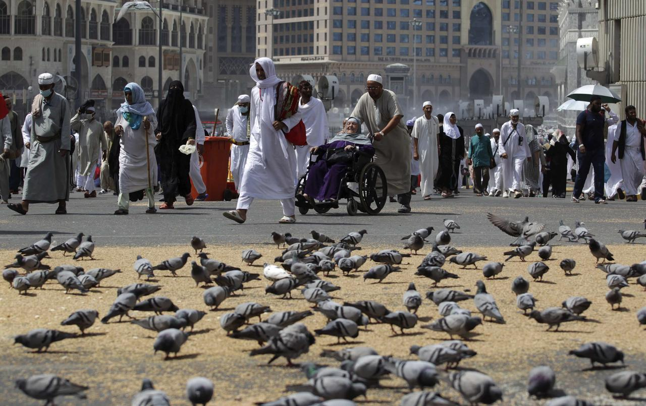 Muslim pilgrims walk past pigeons near the Grand Mosque in the holy city of Mecca, ahead of the annual haj pilgrimage, October 12, 2013. REUTERS/Ibraheem Abu Mustafa (SAUDI ARABIA - Tags: RELIGION ANIMALS)