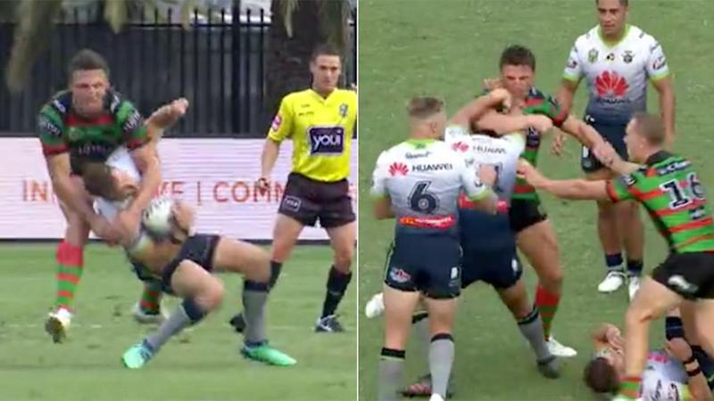 Burgess could be in trouble after this shot on Sezer. Pic: NRL