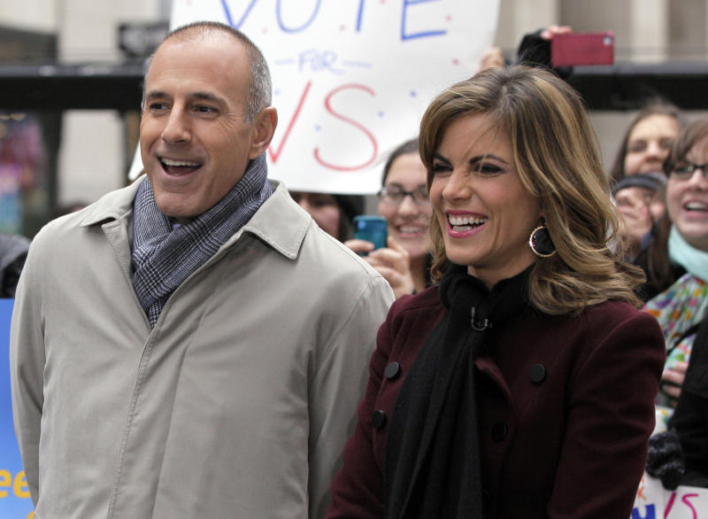"""FILE - In this Nov. 7, 2012 file photo, NBC """"Today"""" co-host Matt Lauer, left, and the program's newswoman Natalie Morales, appear during a segment of the show in New York's Rockefeller Center. Lauer told advertisers that he wants to get the """"Today"""" show back to being the most-watched and least talked about show on morning television, and he expects to do it. (AP Photo/Richard Drew, File)"""