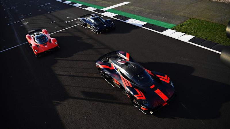 The three Aston Martin Valkyrie verification prototypes at Silverstone race track in England