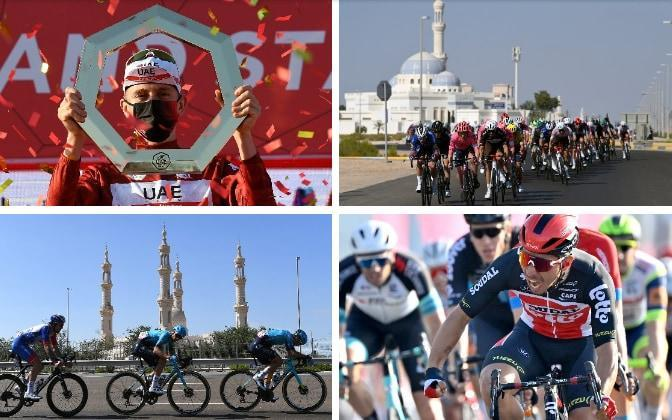 Action from stage seven at the UAE Tour — Tadej Pogacar seals overall victory at UAE Tour after Caleb Ewan wins final stage - GETTY IMAGES / AP