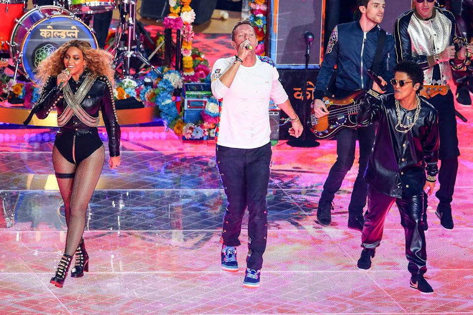 Beyonce, Chris Martin and Bruno Mars perform during the Pepsi Super Bowl 50 Halftime at Levi's Stadium in Santa Clara, California. (Photo by Rich Graessle/Icon Sportswire) (Photo by Icon Sports Wire/Corbis/Icon Sportswire via Getty Images)