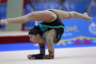 Julie Ashley Zetlin, of the United States, performs with the ball in the individual all-around rhythmic gymnastics qualifications during the 2011 Pan American Games in Guadalajara, Mexico, Saturday, Oct. 15, 2011.(AP Photo/Dario Lopez-Mills)