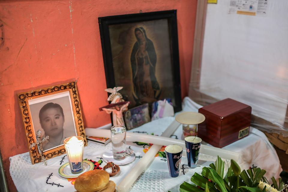 View of the urn with ashes of Mexican stretcher-bearer Hugo Lopez Camacho, who died following a COVID-19 infection, during his funeral, in Mexico City, late on May 18, 2020. (Photo by PEDRO PARDO / AFP) (Photo by PEDRO PARDO/AFP via Getty Images)