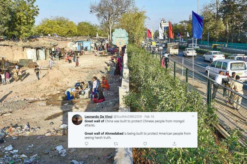 Twitter Comes Crashing Down as Photo of 'Great Wall of Ahmedabad' Built to Welcome Trump Goes Viral