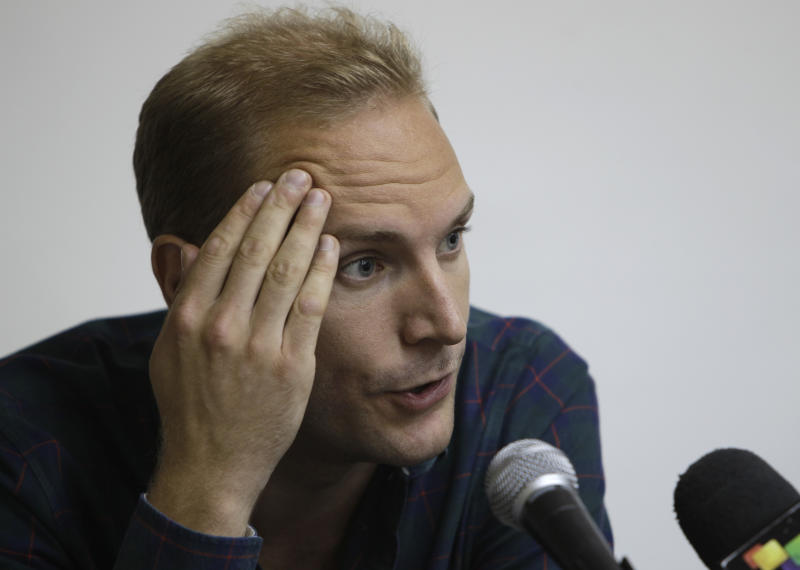 Swedish citizen Jens Aron Modig speakes during a press conference in Havana, Cuba, Monday, July 30, 2012. Modig and Spanish citizen Angel Carromero who were traveling with Cuban dissident Oswaldo Paya when he died in a car crash are denying speculation that a second vehicle was involved. Modig backs up investigators' report that the driver braked abruptly after entering an unpaved construction zone and lost control. (AP Photo/Franklin Reyes)