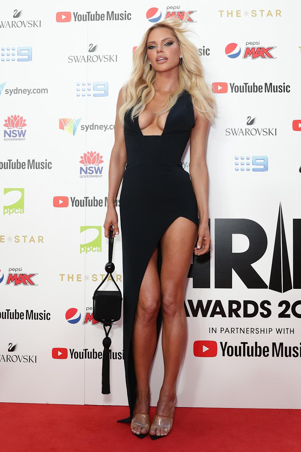 Sophie Monk rocked a black mini dress at the ARIA Awards 2019 at The Star. Photo: Getty Images