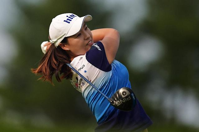 Chun In-Gee of South Korea hits her tee shot on the 18th hole during the final round of the US Women's Open on July 12, 2015 in Lancaster, Pennsylvania (AFP Photo/Drew Hallowell)