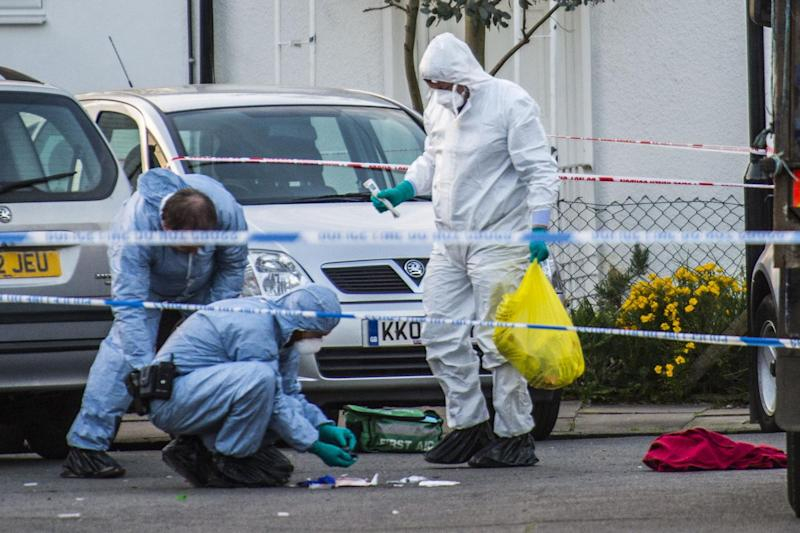 Police investigation: Forensic officers at the scene of a fatal stabbing in Northolt: Lucy Young