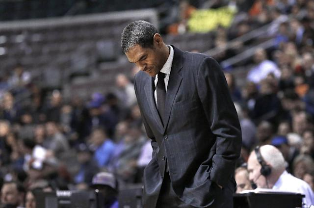 FILE - In this Dec. 10, 2013 file photo, Detroit Pistons head coach Maurice Cheeks looks down at the floor during an NBA basketball game in Auburn Hills, Mich. Detroit fired Cheeks on Sunday, Feb. 9, 2014, after less than a year as coach, with the Pistons languishing well below .500 despite offseason moves aimed at putting the struggling franchise back in contention. (AP Photo/Paul Sancya, File)