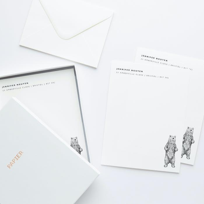 """If he prefers sending letters rather than emails or texts, he'll definitely enjoy this customized stationery set featuring a charming bear illustration. $35, Papier. <a href=""""https://www.papier.com/us/bear-422"""" rel=""""nofollow noopener"""" target=""""_blank"""" data-ylk=""""slk:Get it now!"""" class=""""link rapid-noclick-resp"""">Get it now!</a>"""