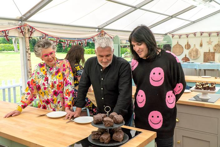 Prue Leith, Paul Hollywood and Noel Fielding on