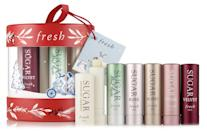 <p>Keep those lips hydrated and moisturized during the colder months with the help of the <span>Fresh Sugar Lip Bestsellers Ornament</span> ($45).</p>